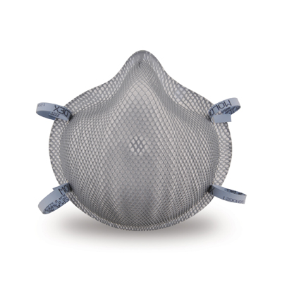 disposable gray respirator face mask and blue straps