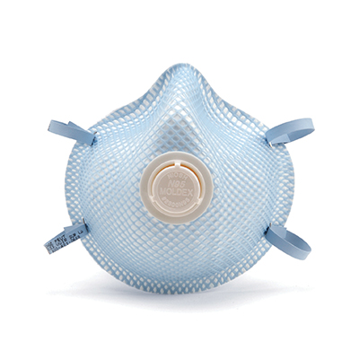 disposable blue respirator face mask and white vent