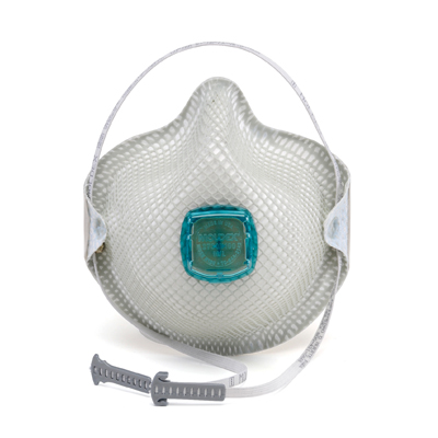 white disposable respirator face mask that includes vent and adjustable strap