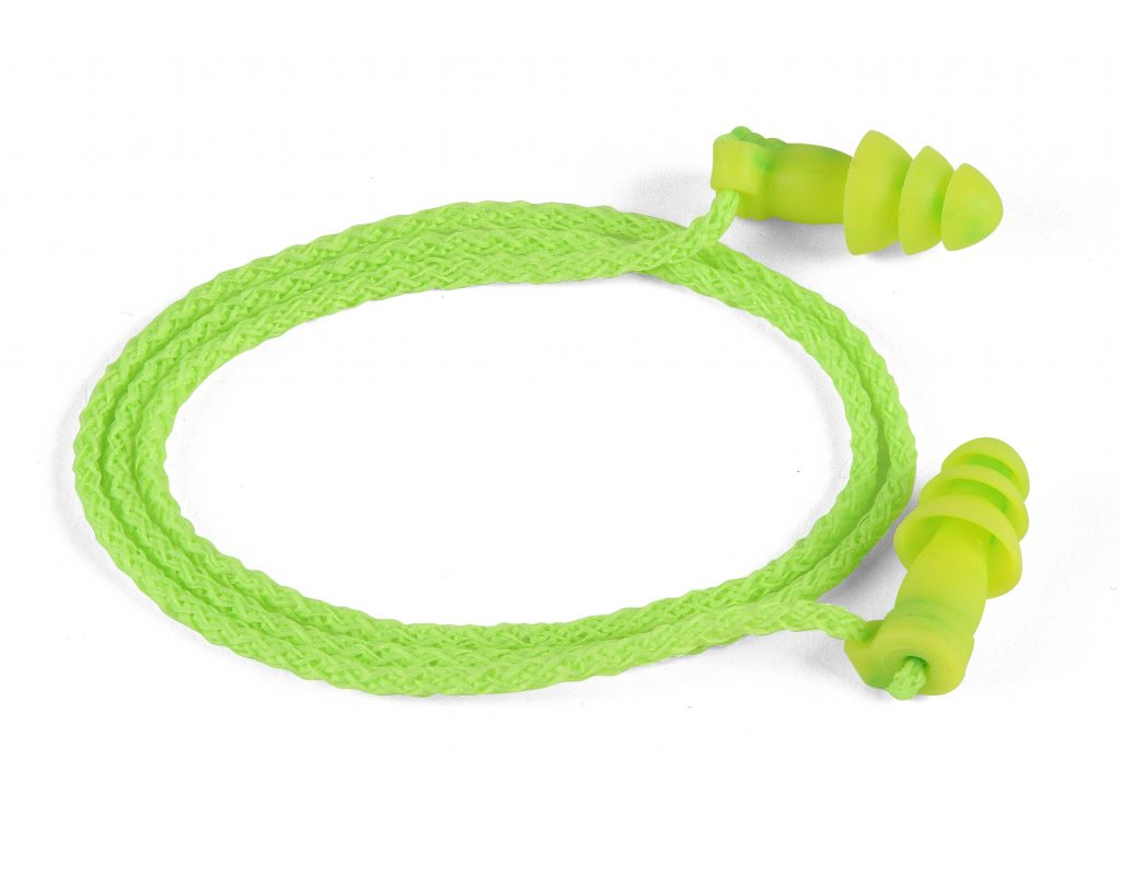 bright-green reusable hearing protection earplugs with neck cord