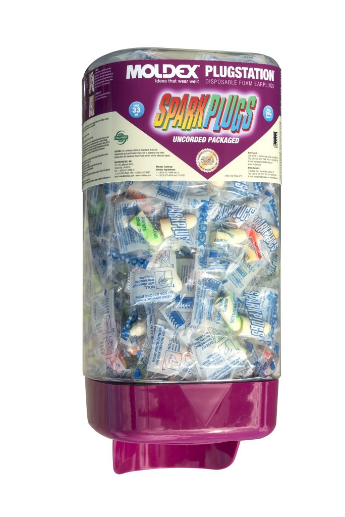 dispenser of individually wrapped fully disposable foam earplugs