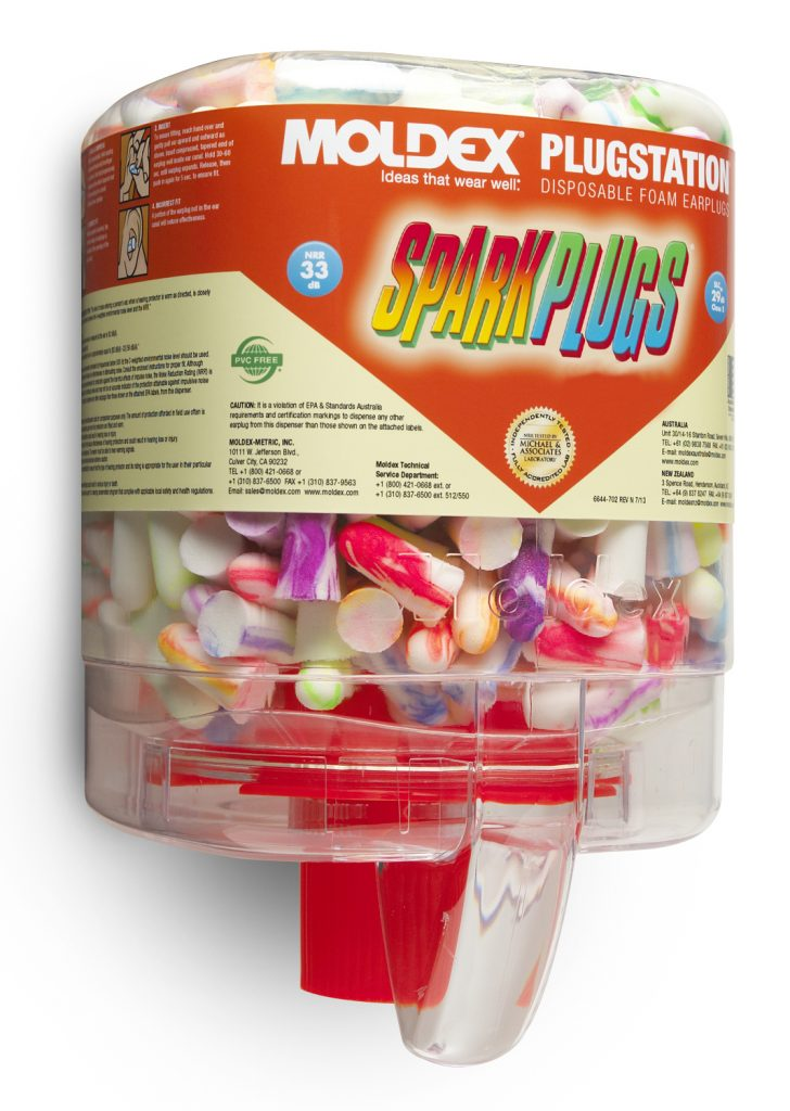 dispenser of disposable foam earplugs for hearing protection