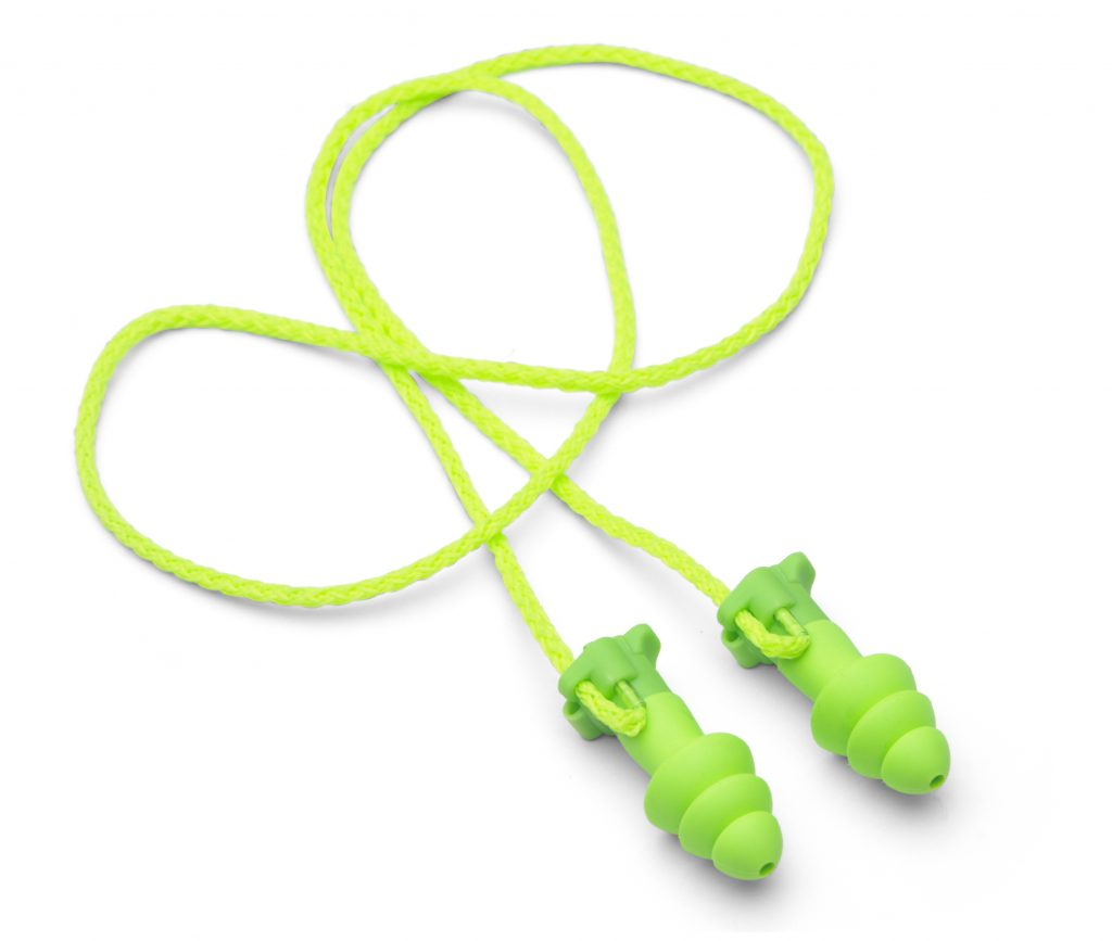 bright-green hearing-protection earplugs with removable cord