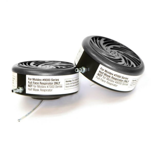 two probed replacement cartridges for insertion in reusable respirator masks