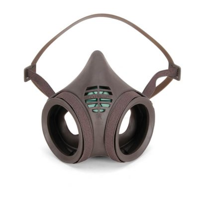 gray-colored half-mask reusable respirator face mask