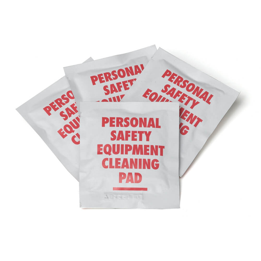 four individually wrapped personal safety equipment cleaning pads