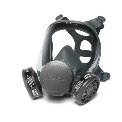 black full-face reusable respirator mask and eye shield