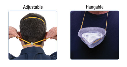 man adjusting face mask behind head and hanging it on neck