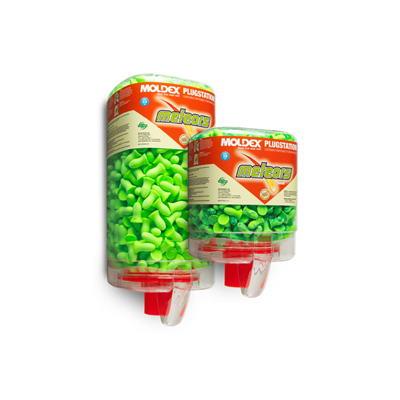 two dispensers of bright green disposable earplugs