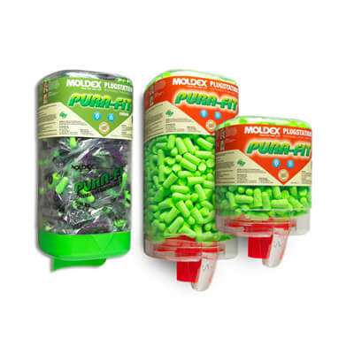 three dispensers that contain bright green disposable earplugs