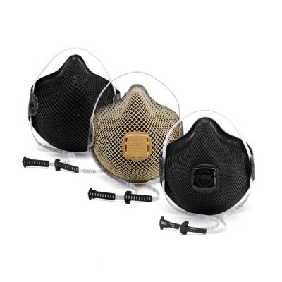 three disposable face masks that are for military respirators